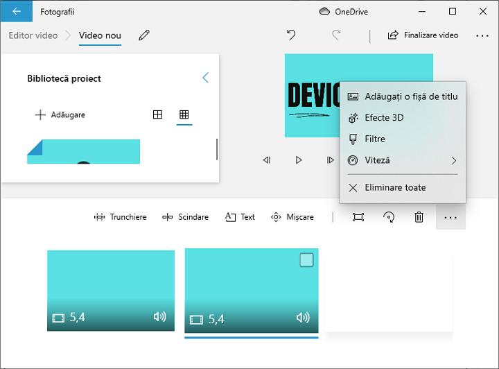 Meniu in editor video Windows 10