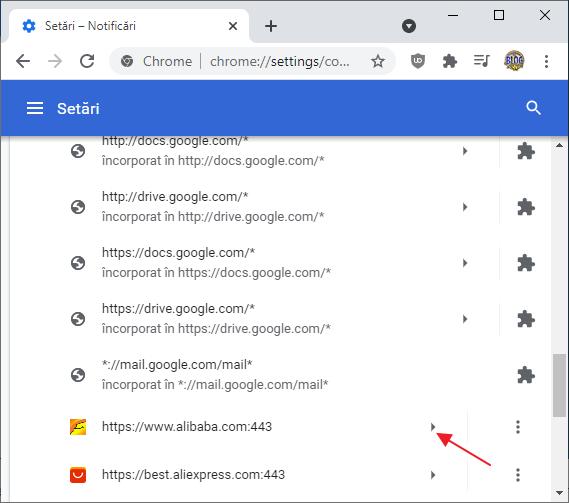Lista site-urilor carora li se permit notificari in Google Chrome