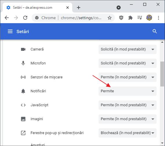 Blocarea notificarilor site-urilor in Chrome