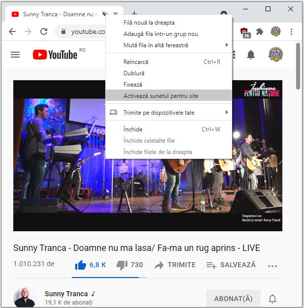 Activeaza si dezactiveaza sunetul in fila Google Chrome