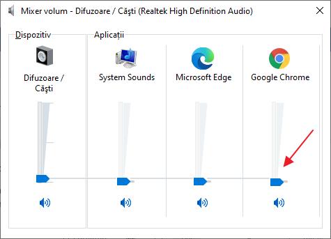 Configurarea volumului aplicatiilor in Windows 10