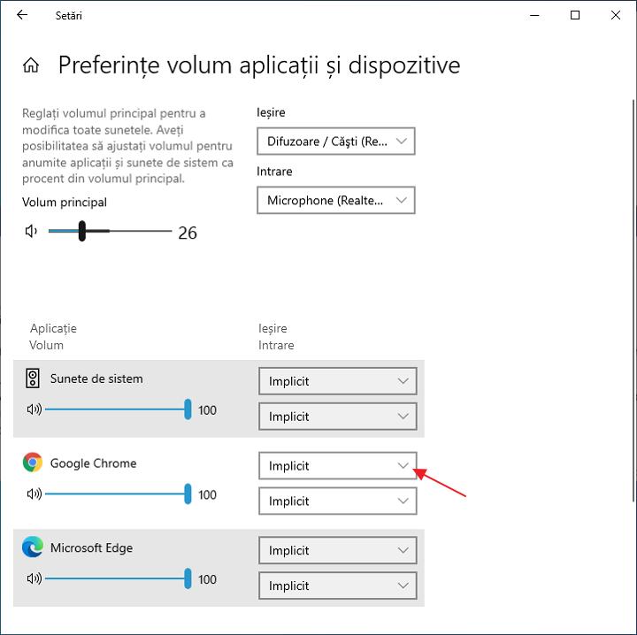 Configurarea iesirii audio in browser